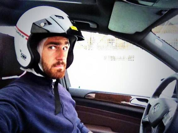 That look you get when you just go full speed hardcore on a racing arena in an SUV AMG!