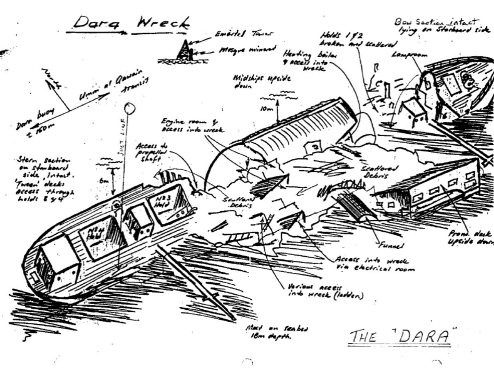 MV DARA Wreck Map UAE