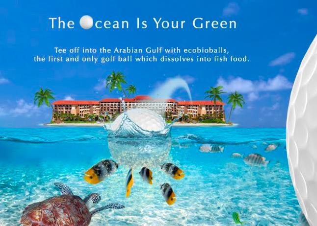 Ecobio swing at sofitel the palm dubai adventurati for Fish food golf balls